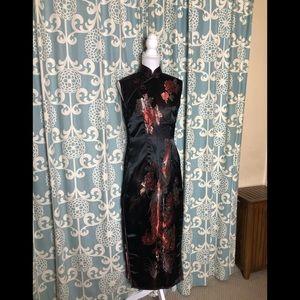 Mandarin Collar Sleeveless Maxi Dress